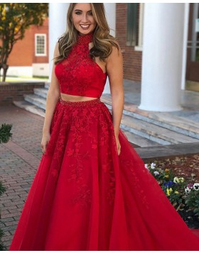 High Neck Two Piece Lace Appliqued Red Long Prom Dress PM1133