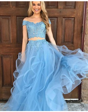 Off the Should Sky Blue Appliqued Two Piece Tulle Prom Dress PM1134