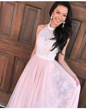 High Neck Lace Pink Pleated Long Prom Dress PM1135