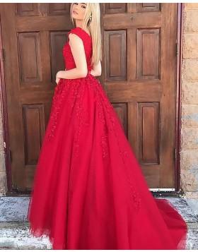 V-neck Appliqued Red Long Prom Dress with Beading Belt PM1136