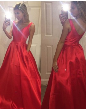 Simple V-neck Satin Red Ball Gown Prom Dress with Pockets PM1138