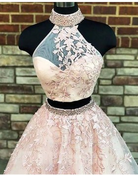 Two Piece High Neck Pearl Pink Ball Gown Prom Dress with Appliques PM1140