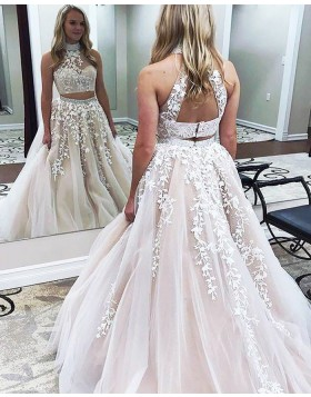 c27397a0cc Two Piece High Neck Pearl Pink Ball Gown Prom Dress with Appliques PM1140  ...