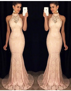 Elegant High Neck Pink Mermaid Lace Long Formal Dress PM1141