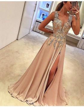 Deep V-neck Lace Appliqued Blush Pink Satin Prom Dress with Side Slit PM1142