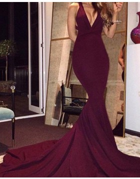 Simple Deep V-neck Burgundy Mermaid Evening Dress with Court Train PM1143