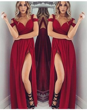 Cold Shoulder Satin Red Ruched Long Prom Dress with Side Slit PM1145