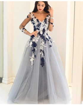 V-neck Dusty Blue Appliqued Ball Gown Prom Dress with Long Sleeves PM1146