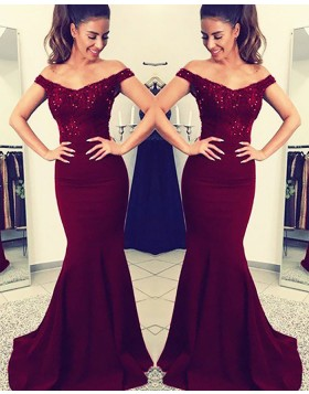 Off the Shoulder Burgundy Beading Appliqued Bodice Satin Mermaid Prom Dress PM1149