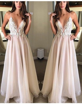 Spaghetti Straps Appliqued Chiffon Pink Long Prom Dress PM1150