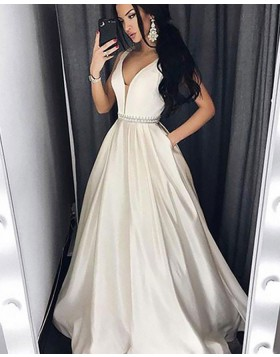 V-neck Ivory and Champagne Satin Ball Gown Prom Dress with Pockets PM1151