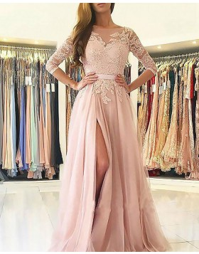 Bateau Pink Appliqued Chiffon Slit Long Prom Dress with 3/4 Length Sleeves PM1152