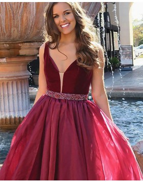 V-neck Burgundy Pleated Long Prom Dress with Beading Belt PM1153