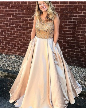 Jewel Beading Bodice Champagne Satin Prom Dress with Pockets PM1154