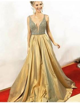 Elegant V-neck Beading Bodice Gold Satin Long Prom Dress PM1155