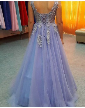 V-neck Appliqued Lavender Tulle Long Prom Dress PM1156
