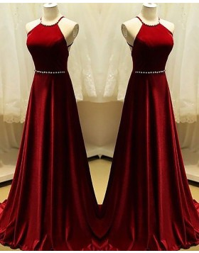 Halter Red Satin A-line Long Prom Dress with Beading PM1158