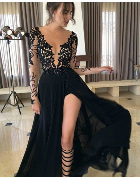 Sheer Neck Sequin Lace Black Long Slit Prom Dress PM1159