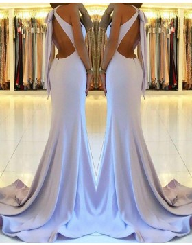 High Neck Dusty Blue Cutout Satin Mermaid Long Prom Dress with Side Slit PM1160