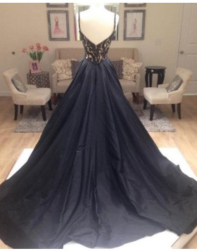 Gorgeous Black V-neck Beading Bodice Satin Evening Dress PM1162
