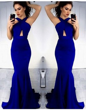 Crisscross Blue Cutout Mermaid Long Prom Dress PM1163