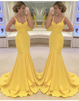 Square Satin Yellow Mermaid Long Prom Dress PM1164