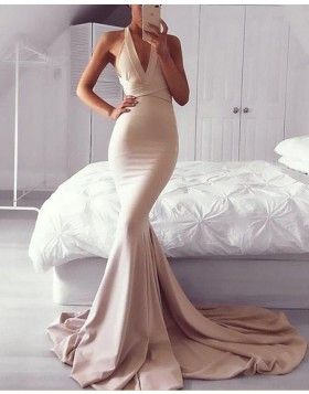 Convertible Blush Pink Mermaid Satin Long Prom Dress PM1165