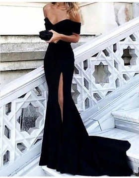 Off the Shoulder Satin Black Mermaid Prom Dress with Side Slit PM1166