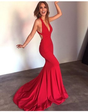 Convertible Long Simple Satin Red Mermaid Prom Dress PM1168