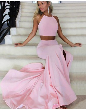 Two Piece Halter Pink Side Slit Mermaid Prom Dress PM1169