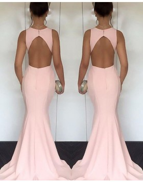 Elegant Satin Jewel Cutout Pink Mermaid Long Prom Dress PM1170