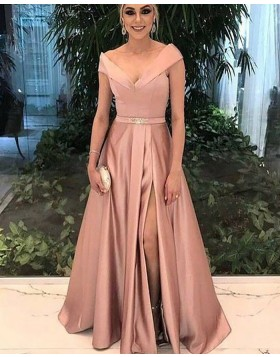 Off the Shoulder Satin Blush Pink Prom Dress with Front Slit PM1175