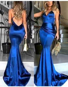 Spaghetti Straps Ruched Mermaid Royal Blue Prom Dress PM1177