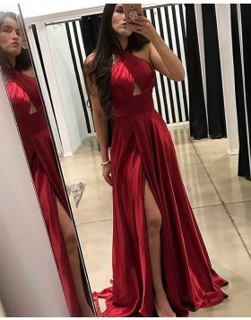 Crisscross Red Satin Pleated Long Prom Dress with Front Slit PM1180