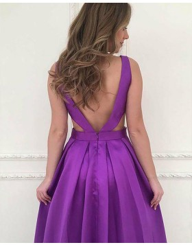 V-neck Cutout Violet Pleated Satin Prom Dress with Pockets PM1182