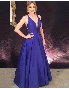 Halter Blue Simple Long Satin Prom Dress with Crisscross Back PM1183