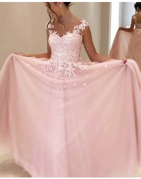 Sheer Neck Appliqued Pink Chiffon Long Prom Dress PM1187