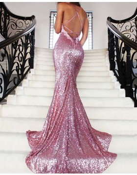 Spaghetti Straps Rose Gold Sequined Mermaid Prom Dress PM1188