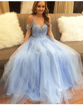 Cold Should Light Blue Beading Bodice Tulle Long Prom Dress PM1192