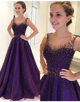 Scoop Beading Blue Aline Satin Long Prom Dress PM1194