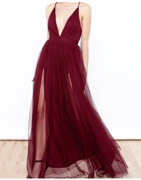 Spaghetti Straps Burgundy Tulle Long Prom Dress with Double Slits PM1197
