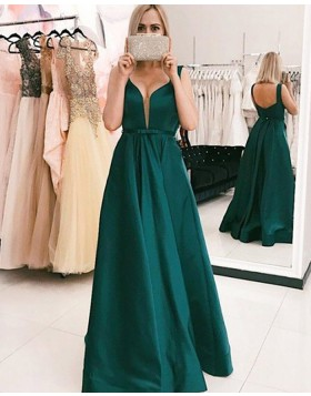 Simple Pleated V-neck Green Satin Ball Gown Prom Dress PM1199