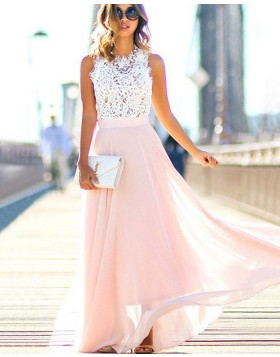 High Neck White Lace Bodice Long Prom Dress with Pink Skirt PM1204