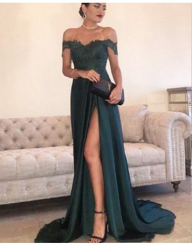 Off the Shoulder Dark Green Lace Bodice Prom Dress with Side Slit PM1207