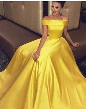 Simple Off the Shoulder Yellow Long Prom Dress with Pockets PM1208
