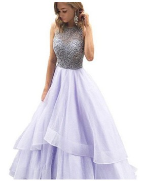 Jewel Beading Bodice Lavender Long Prom Dress with Layered Skirt PM1210
