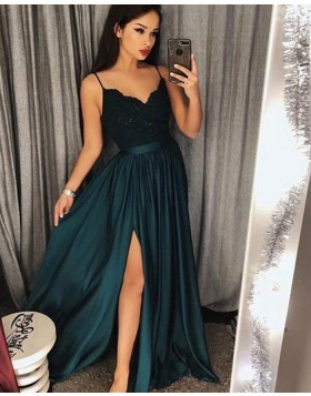 Spaghetti Straps Teal Satin Long Prom Dress with Side Slit PM1218