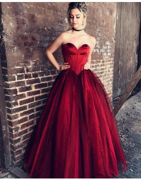 Sweetheart Satin Red Ball Gown Prom Dress PM1219