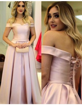 Off the Shoulder Pink Satin Pleated Simple Long Prom Dress PM1220