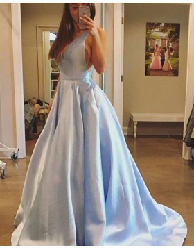 Simple V-neck Light Blue Satin Ball Gown Prom Dress PM1221